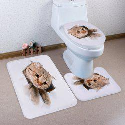 Cat Broken Paper 3D Pattern 3 Pcs Bath Mat Toilet Mat