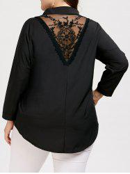 Plus Size Lace Panel High Low Blouse