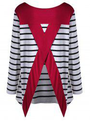 Plus Size Striped Back Slit Tee