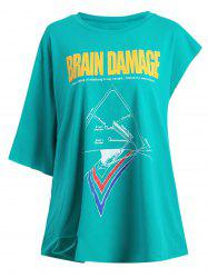 Plus Size Graphic Brain Letter Boyfriend T-shirt
