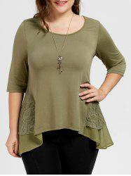 High Low Lace Panel Plus Size Tee