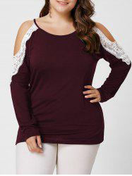 Plus Size Lace Insert Long Sleeve Cold Shoulder Tee