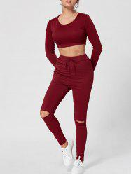 Hooded Crop Top with High Waisted Ripped Pants