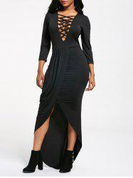 Criss Cross Plunging High Low Maxi Dress