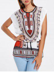 Ethnic Print Tunic T-shirt - WHITE