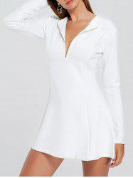 Long Sleeve Half Zip Mini A Line Dress