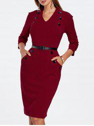 V Neck Buttoned Pencil Dress