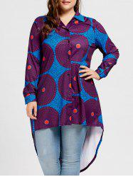 Hit Color Round Pattern Plus Size High Low Top