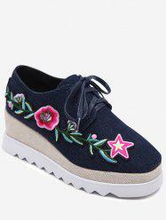 Embroidered Denim Wedge Shoes