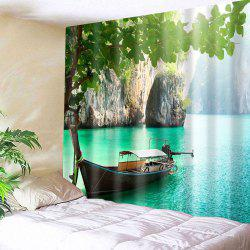 Boat In a Lake Print Wall Tapestry
