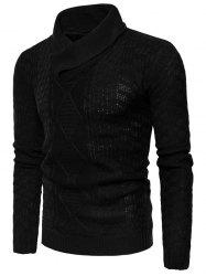Ribbed Shawl Collar Pullover Sweater -