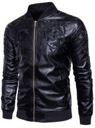 Embroidered PU Leather Zip Up Jacket