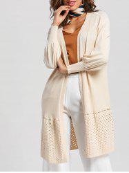 Hollow Out Puff Sleeve Open Front Cardigan