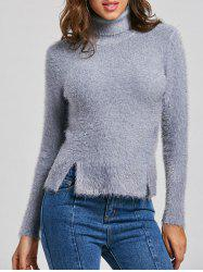 Knit Fuzzy Turtleneck Sweater