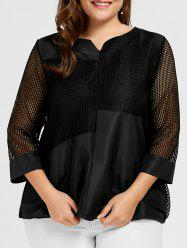 Mesh Panel Plus Size Overlay Blouse