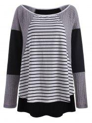 Stripe Insert Plus Size High Low Top -