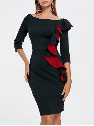 Boat Neck Ruffled Bodycon Dress - BLACK XL