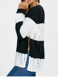 Two Tone Side Slit Frayed Sweater -