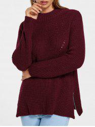 Side Zip High Neck Sweater -