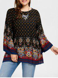 Plus Size Tribe Print Bell Sleeve Blouse - Black - 3xl