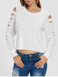 High Low Hollow Out Long Sleeves Top -