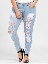 Plus Size Zipper Fly Distressed Jeans -