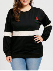 Plus Size Rose Embroidered Pullover Sweatshirt -