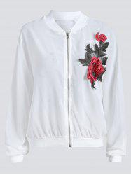 Sun Protect  Embroidered Plus Size Bomber Jacket -