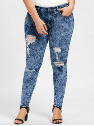 Plus Size Skinny Ripped Zipper Jeans -