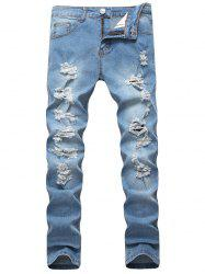 Distressed Light Wash Jeans -