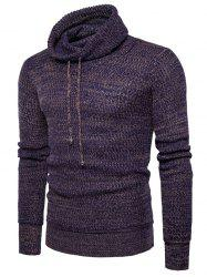 Knit Blends Cowl Neck Drawstring Sweater -