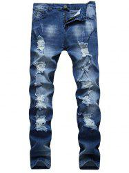 Zip Fly Faded Ripped Jeans -
