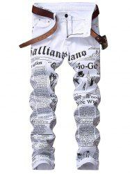 Zip Fly Journal Print Jeans -