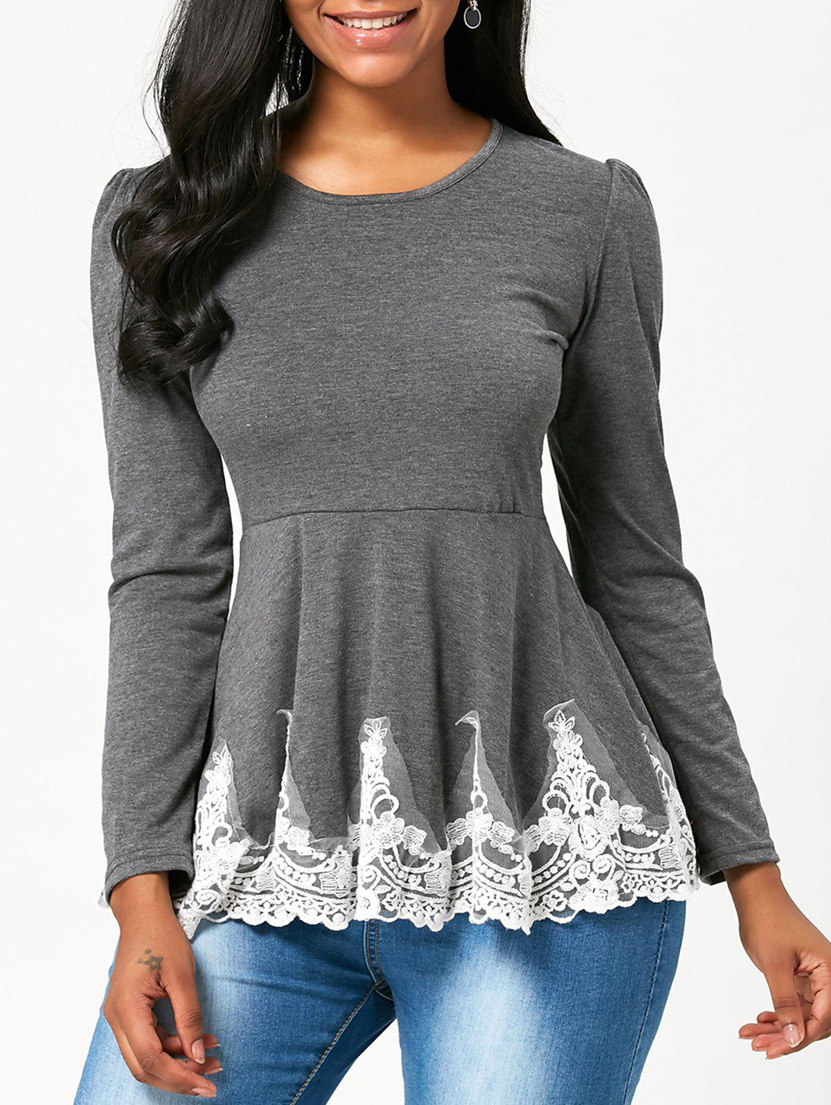 Lace Trim High Waist Long Sleeve T-shirtWOMEN<br><br>Size: M; Color: GRAY; Material: Polyester,Spandex; Shirt Length: Regular; Sleeve Length: Full; Collar: Scoop Neck; Style: Fashion; Embellishment: Lace; Pattern Type: Solid Color; Season: Fall,Spring; Elasticity: Micro-elastic; Weight: 0.3000kg; Package Contents: 1 x T-shirt;