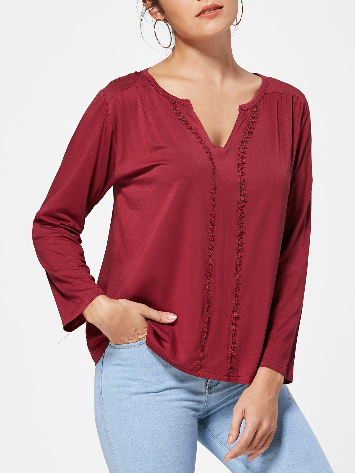 Chic Cut Out Lace Trim V Neck Tee