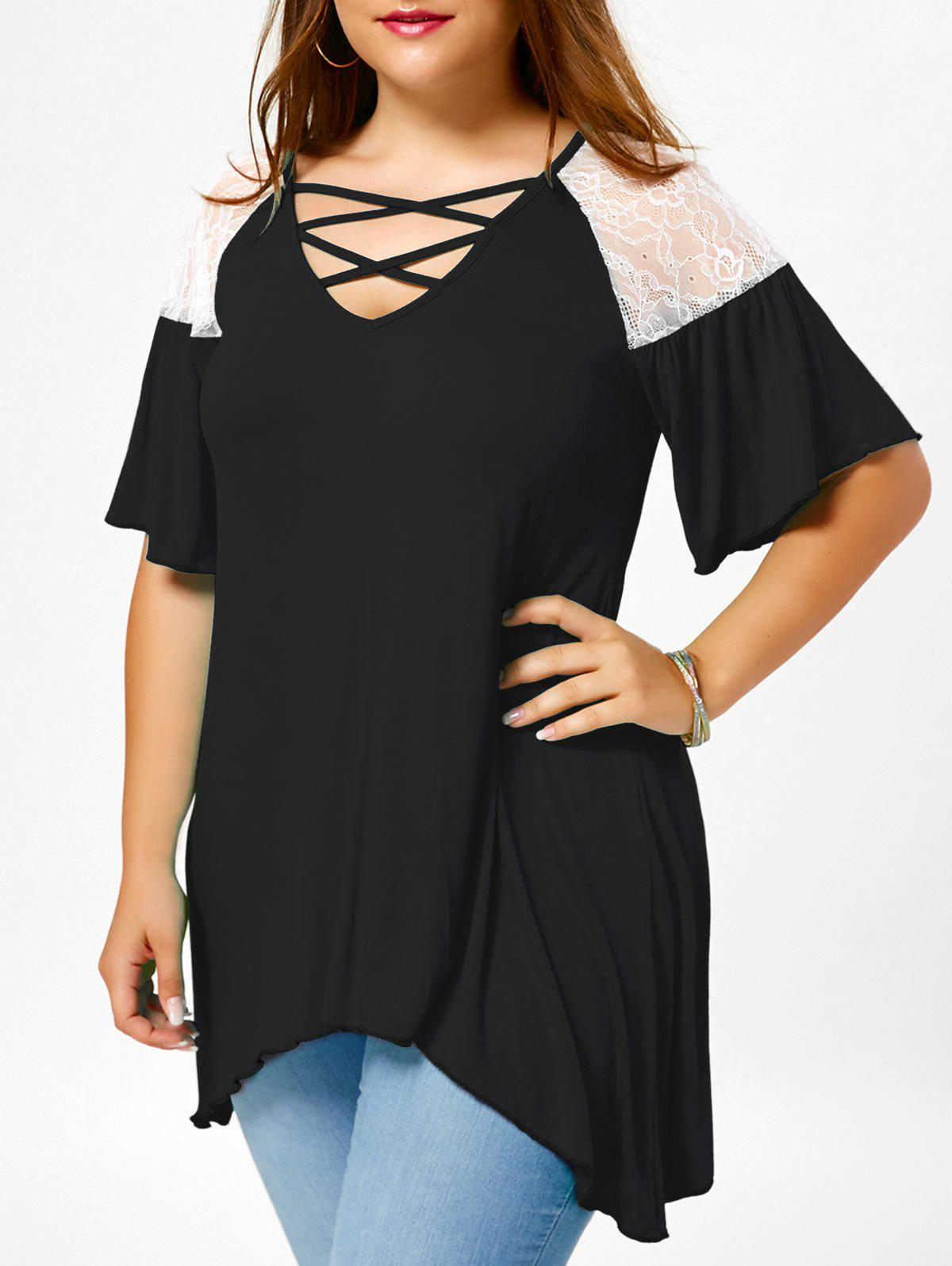 Criss Cross Drop Shoulder Plus Size Tunic T-ShirtWOMEN<br><br>Size: XL; Color: WHITE AND BLACK; Material: Polyester,Spandex; Shirt Length: Regular; Sleeve Length: Half; Collar: V-Neck; Style: Casual; Season: Fall,Spring,Summer; Sleeve Type: Flare Sleeve; Embellishment: Lace; Pattern Type: Solid; Elasticity: Elastic; Weight: 0.2600kg; Package Contents: 1 x T-Shirt;