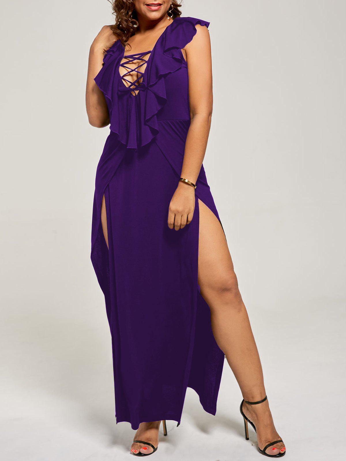 Plus Size Flounce Lace Up Maxi High Slit DressWOMEN<br><br>Size: 3XL; Color: DEEP PURPLE; Style: Casual; Material: Polyester,Spandex; Silhouette: A-Line; Dresses Length: Floor-Length; Neckline: Plunging Neck; Sleeve Length: Sleeveless; Pattern Type: Solid; With Belt: No; Season: Fall,Spring,Summer; Weight: 0.3500kg; Package Contents: 1 x Dress;