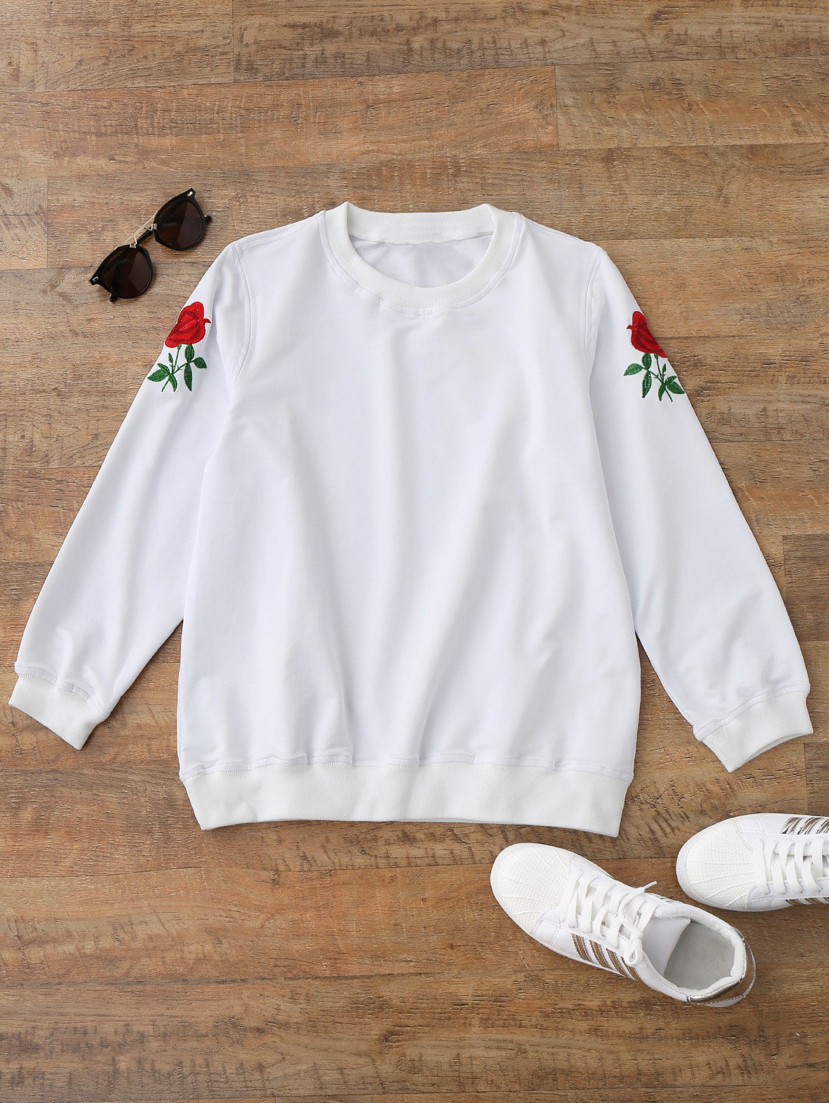 Latest Pullover Flower Embroidered Sweatshirt