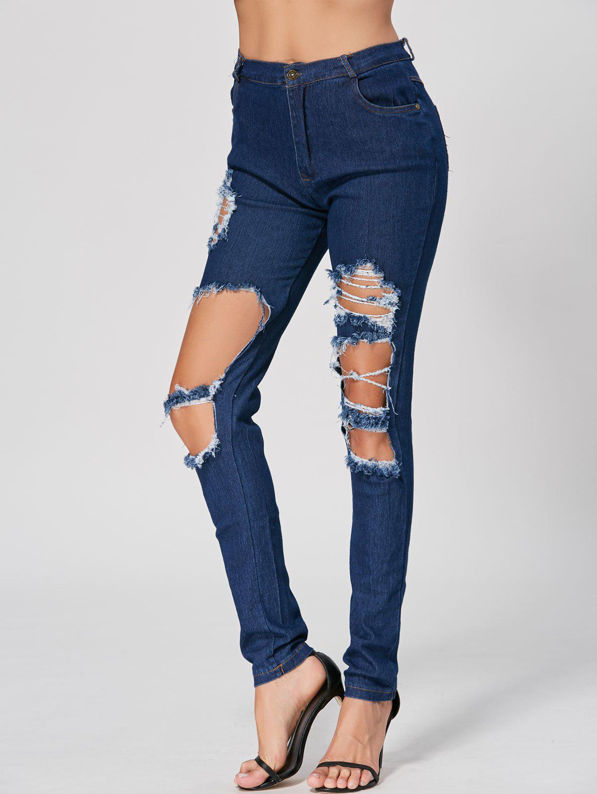Fashionable High Waist Broken Hole Design Bodycon Ripped Jeans For Women, Deep blue