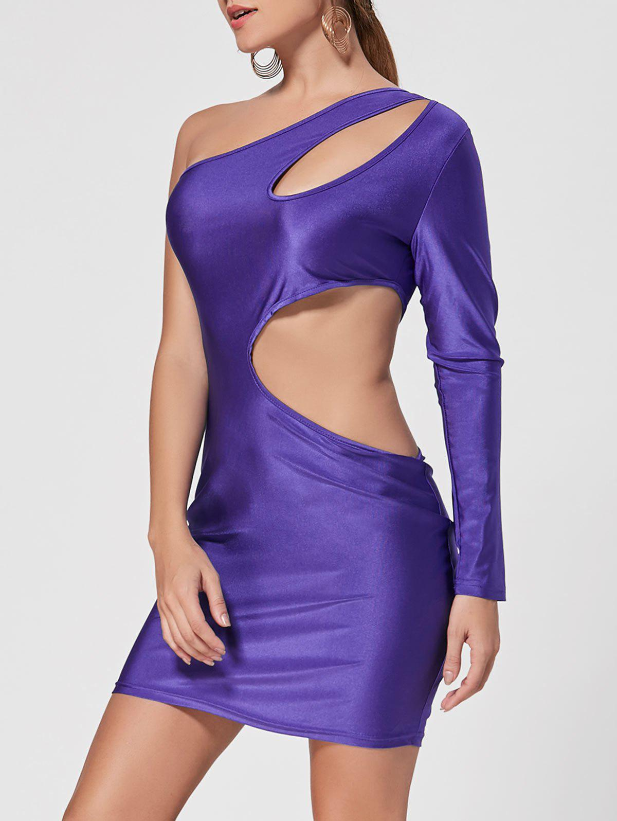Latest Cut Out One Shoulder Bodycon Club Dress