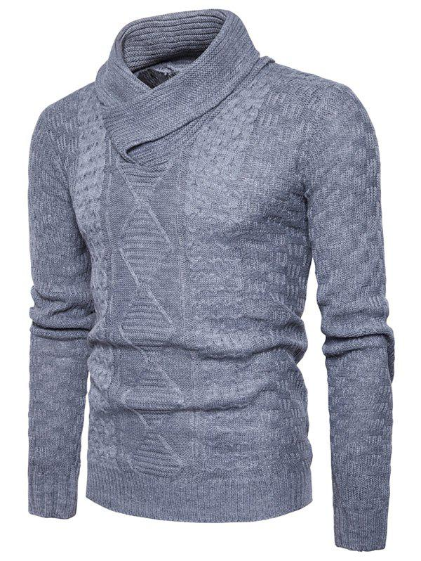 Ribbed Shawl Collar Pullover SweaterMEN<br><br>Size: M; Color: LIGHT GRAY; Type: Pullovers; Material: Cotton,Polyester; Sleeve Length: Full; Collar: Shawl Collar; Style: Fashion; Weight: 0.5100kg; Package Contents: 1 x Sweater;