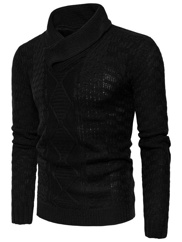 Outfits Ribbed Shawl Collar Pullover Sweater