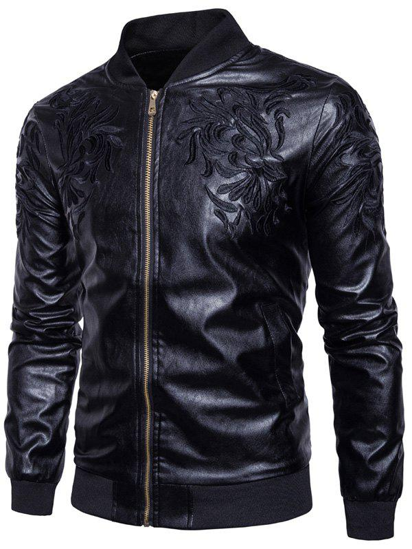 Store Embroidered PU Leather Zip Up Jacket