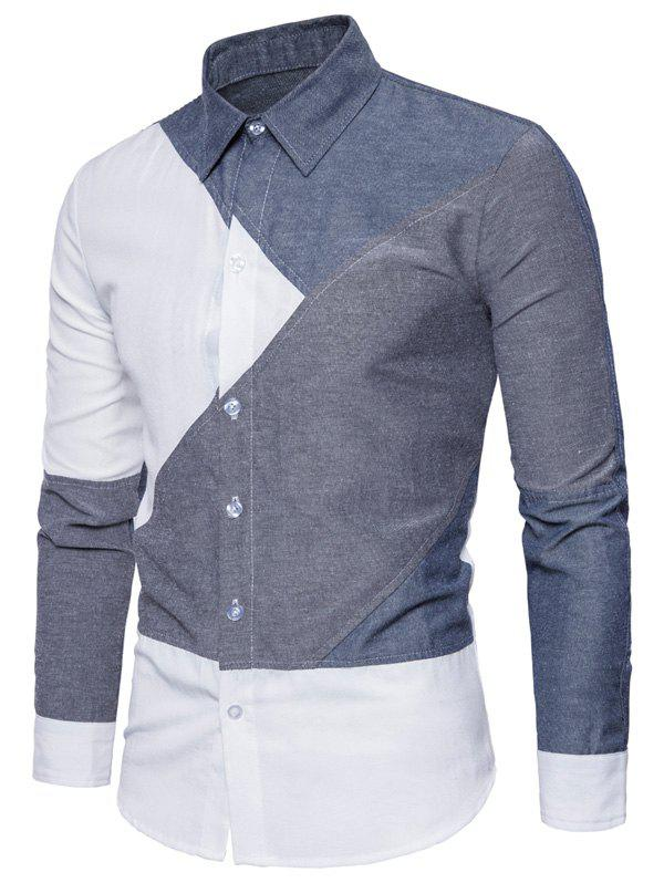 Long Sleeve Color Block Panel ShirtMEN<br><br>Size: S; Color: COLORMIX; Shirts Type: Casual Shirts; Material: Cotton,Polyester; Sleeve Length: Full; Collar: Turndown Collar; Pattern Type: Solid; Weight: 0.2700kg; Package Contents: 1 x Shirt;