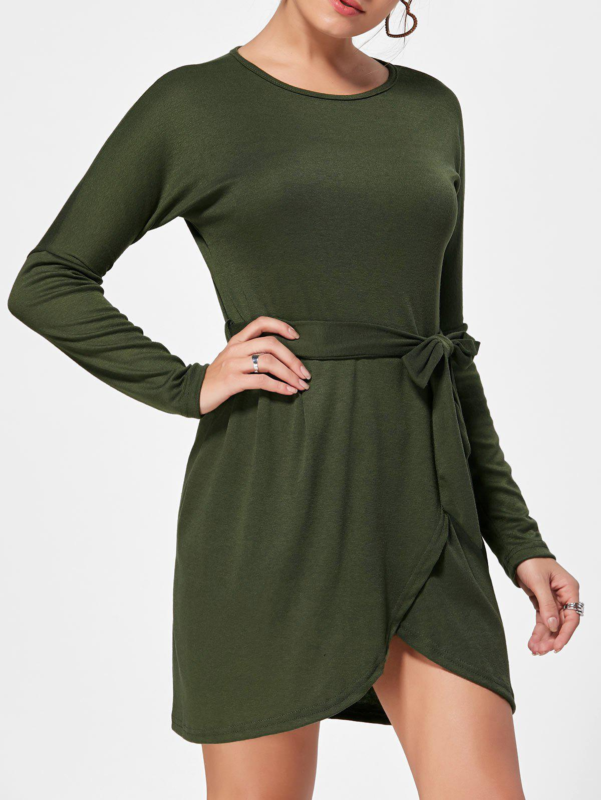Outfits Long Sleeves Belted Casual Dress