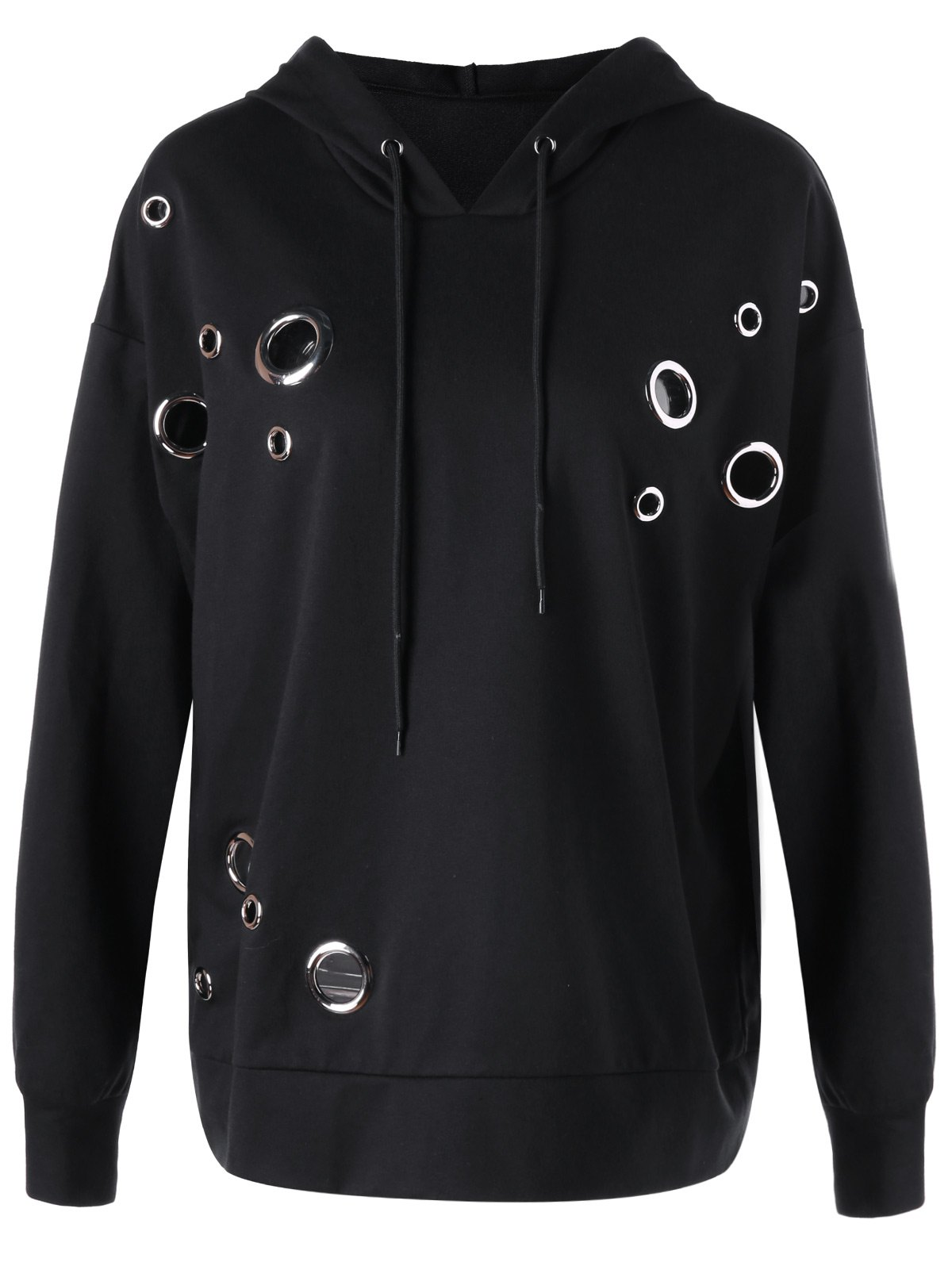 Casual Plus Size Metal Ring HoodieWOMEN<br><br>Size: 5XL; Color: BLACK; Material: Polyester,Spandex; Shirt Length: Regular; Sleeve Length: Full; Style: Fashion; Pattern Style: Solid; Season: Fall,Spring; Weight: 0.5140kg; Package Contents: 1 x Hoodie;