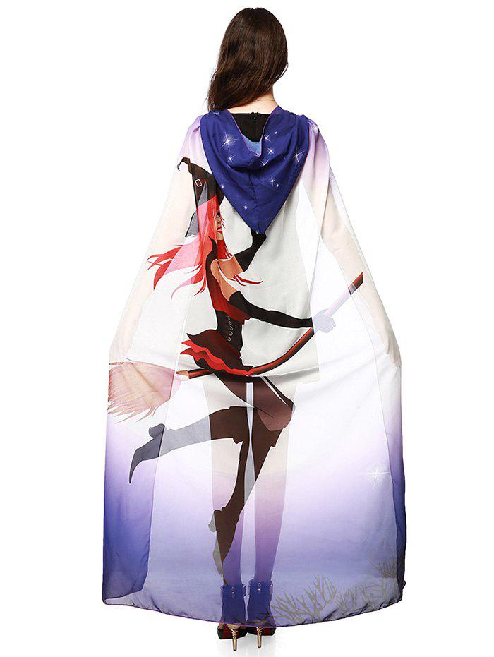 Halloween Witch Element Hooded Chiffon CapeACCESSORIES<br><br>Color: PURPLE; Scarf Type: Shawl/Wrap; Group: Adult; Gender: For Women; Style: Fashion; Pattern Type: Print; Season: Fall,Spring,Summer,Winter; Scarf Length: 140CM; Scarf Width (CM): 100CM; Weight: 0.2000kg; Package Contents: 1 x Cape Scarf;