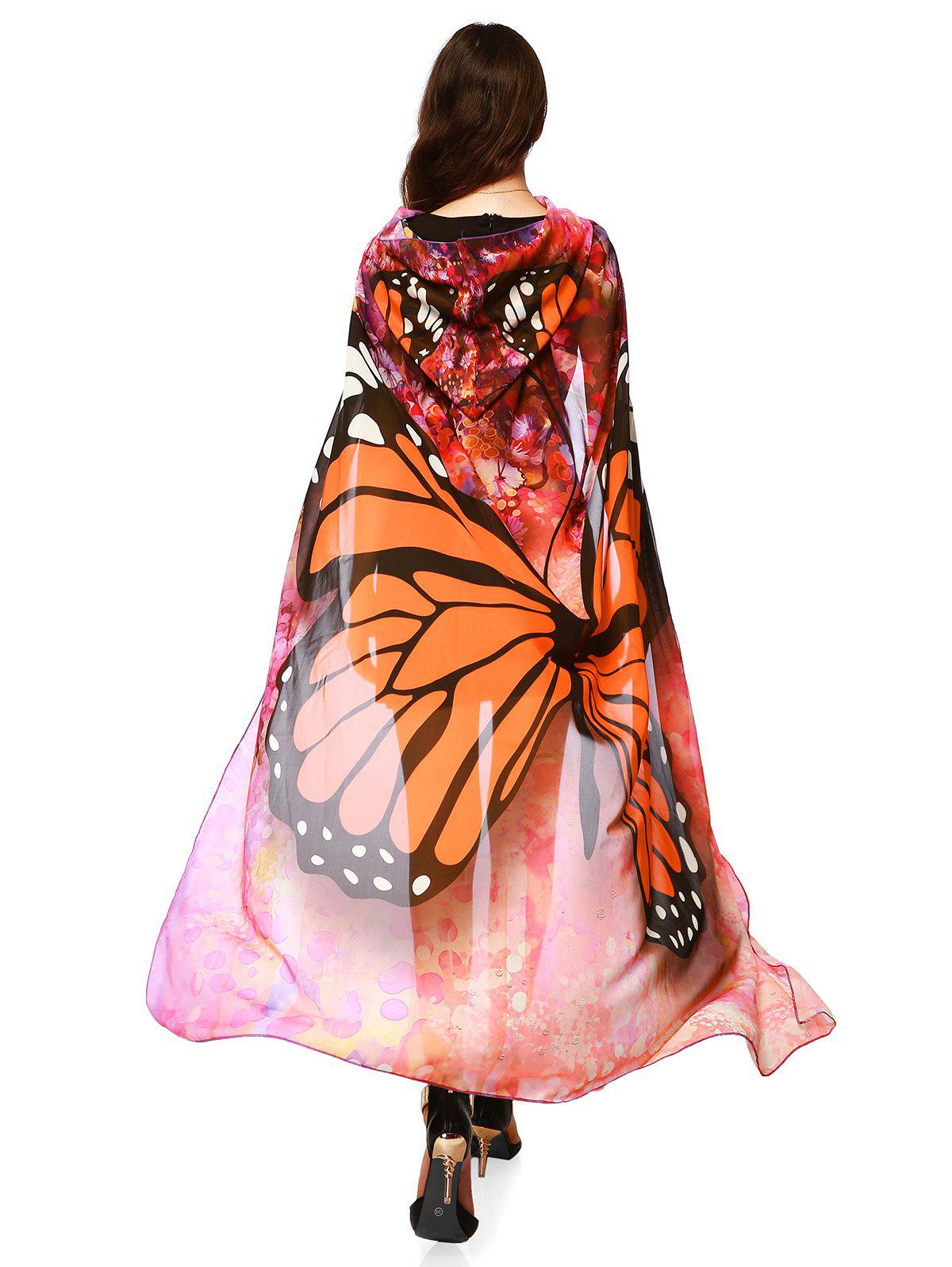 25  Off  Festival Butterfly Design Chiffon Hooded Cape