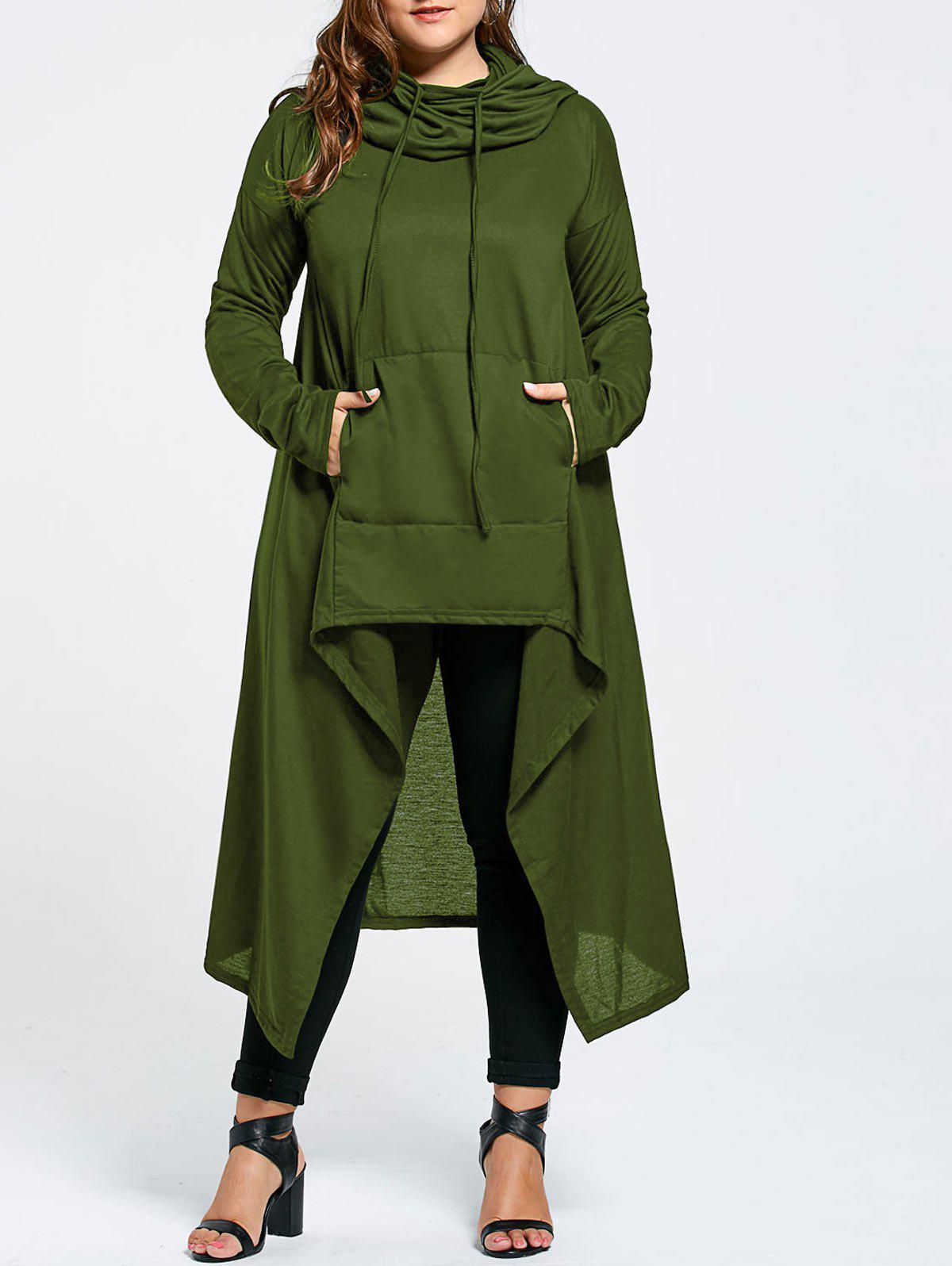 Plus Size Maxi Asymmetric Funnel Collar HoodieWOMEN<br><br>Size: 5XL; Color: ARMY GREEN; Material: Cotton Blend,Polyester; Shirt Length: X-Long; Sleeve Length: Full; Style: Fashion; Pattern Style: Solid; Season: Fall,Winter; Weight: 0.5800kg; Package Contents: 1 x Hoodie;