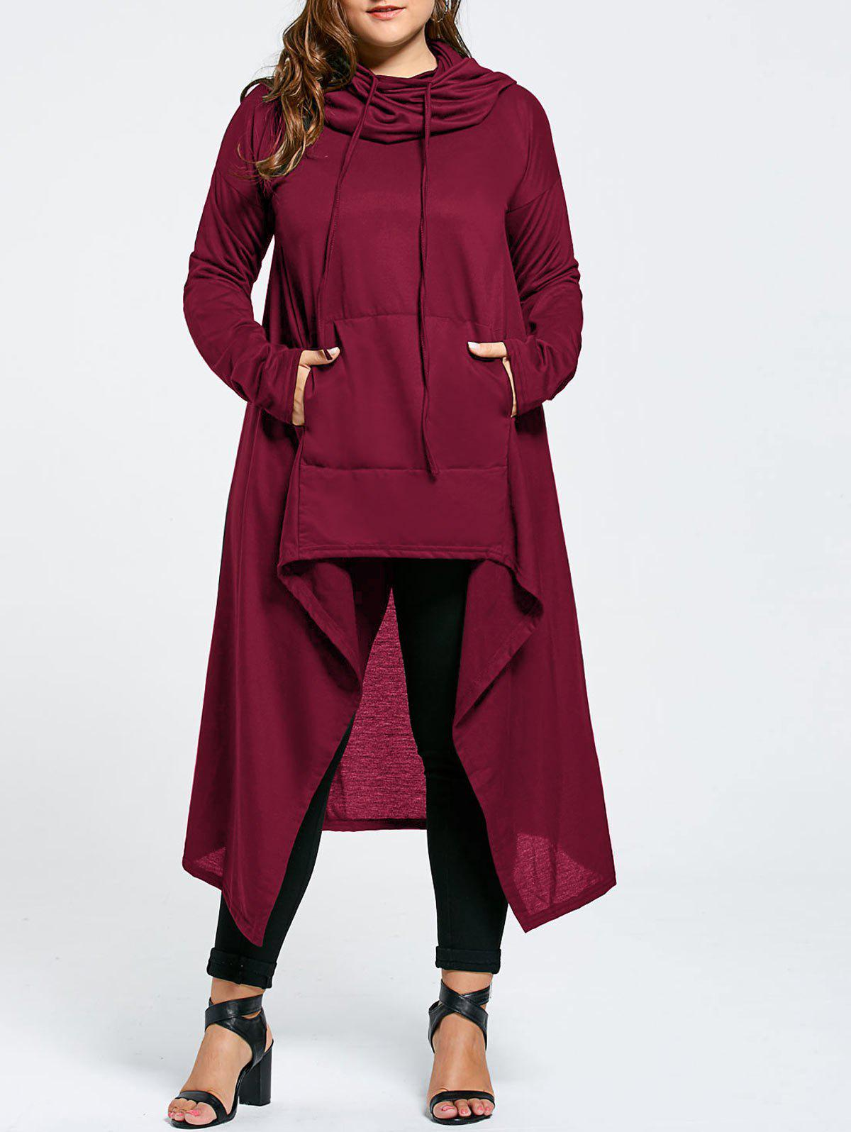 Plus Size Maxi Asymmetric Funnel Collar HoodieWOMEN<br><br>Size: 8XL; Color: WINE RED; Material: Cotton Blend,Polyester; Shirt Length: X-Long; Sleeve Length: Full; Style: Fashion; Pattern Style: Solid; Season: Fall,Winter; Weight: 0.5800kg; Package Contents: 1 x Hoodie;